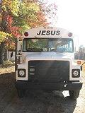 front view of Bull City Outreach Ministries Street Church bus with 'Jesus' on front